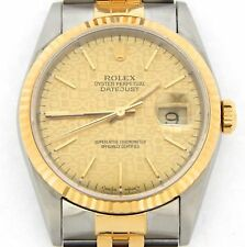 Mens Rolex 2Tone 18k Gold Stainless Steel Datejust Watch Anniversary Dial 16233