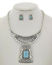 NEW Turquoise South Western Engraved Antiqued Silver Tone Cowgirl Necklace Set