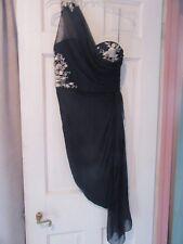 Marchesa Womans Blue Silk/Silver Beading One Shoulder Dress Size 6