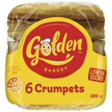 NEW 6-Pack Golden Australian Made Healthy Low in Sugar Round Crumpets Bread 300g