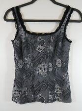 Womens White House Black Market Tank Top Floral Gray Black Silver Sleeveless XS