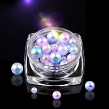Candy Color Shiny Half Round Flatback Pearls 3D Stickers Decoration Nail Art