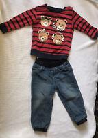 2 Pieces Set Lot Baby Toddler Boy Clothes Jeans Pants Shirt Top 18-24 Months