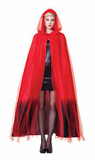 HOODED CAPE LADIES RED BLACK OMBRE FINISH HALLOWEEN FANCY DRESS