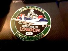 RARE PRESIDENT TRUMP AIR FORCE ONE TO LONDON 4/5 GREEN CHALLENGE COIN