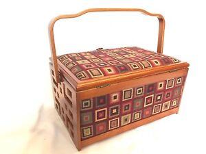 Luxury Sewing Basket Wood Frame Wine/Brown Squares - Craft Storage Gift