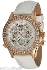 GUESS WHITE PATENT LEATHER+ROSE GOLD AUTOMATIC SKELETON CRYSTAL WATCH U0020L1