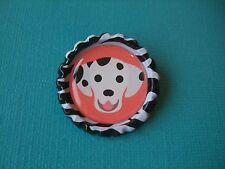 Handmade Dalmatian Dog Brooch Bottle Cap Badge Cartoon Puppy Black White Pink