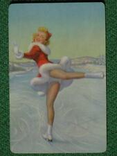 Ice Skater Pinup Girl Art Swap Card Winter Sports Santa's Helper Vintage 1950's