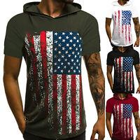 Men Slim Fit Athletic Gym Muscle Hoodies T-shirt Tops Hooded Short Sleeve Blouse