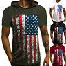 Mens Hooded Short Sleeve Hoodies US Flag Striped T-Shirt Gym Sports Summer Tops