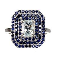 Octagon Aquamarine 7x5mm Blue Sapphire Diamond Cut 925 Sterling Silver Ring