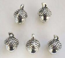5 Metal Antique Silver Acorn Charms/Pendants - 14mm - 3D