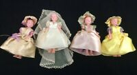 Vintage Bride Bridesmaids Hard Plastic Celluloid Dolls Molded Hair Jointed Arms