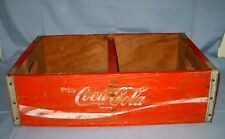 Vtg Vintage Coca Cola Red Wooden Soda Crate Divided In Half!