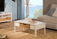 Landhaus Couchtisch Weiß Pinie Massiv mit Schublade 100x55 Echtholz Tisch