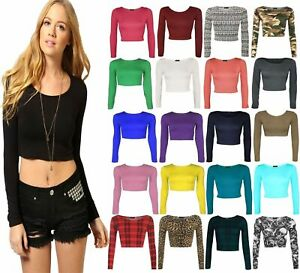 Womens Long Sleeve Crop Top Scoop Neck Short T Shirt Ladies Plain Printed Top
