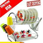 US Kitchen Storage Dish Cup 2-Tier Dryer Drying Rack Holder Organizer BP