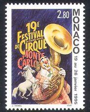 Monaco 1995 CIRQUE/CLOWN/MUSIQUE/INSTRUMENTS/Chevaux/Animaux/Festival 1 V (s2814a)