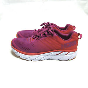 Hoka One One Womens Clifton 6 1102873 PRCFL Poppy Red Running Shoes Size 10.5