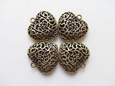 2pz charms ciondoli cuore 3D 35x34mm colore bronzo lead,nikel free