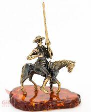 Brass Amber figurine Don Quixote Spanish Knight f the Sad Face Донкихот IronWork