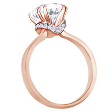 Wedding Engagement Ring 3 Ct Round Cut Diamond Solitaire in 14k Rose Gold