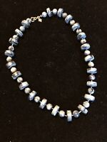 Vintage Signed Sarah Coventry Blue Swirl Beaded Necklace 16 In