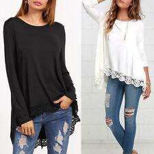 Moderno Mujer Camisa De Manga Larga Informal Negro/Blanco Encaje flores Suéter