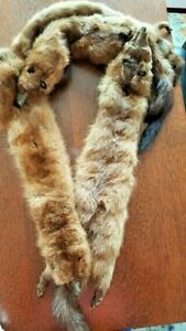 """Vintage 50"""" GENUINE FOX FUR Collar Shawl Stole with 4 heads, feet and tails"""
