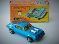 MATCHBOX LESNEY SUPERFAST PONTIAC FIREBIRD RARE MID BLUE MINT IN VNM BOX 1975-77