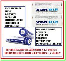 2 batterie aa litio 1,5 volts ricaricabili 2000mAh 1,5v pila stilo XTAR 3300mWh