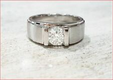 1Ct Round White Moissanite Man's Engagement Wedding Ring 925 Sterling Silver
