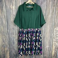 modcloth dress 3X Women's Plus Size Green Floral Multiclor Pleat Boho