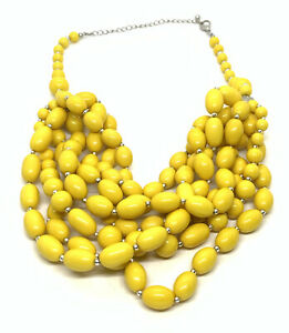 """Chunky Yellow Silver Tone 24"""" Festoon Necklace Statement"""