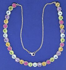 MULTI-GEMSTONE 18 INCH LONG NECKLACE SOLID .925 STERLING SILVER 21.6g