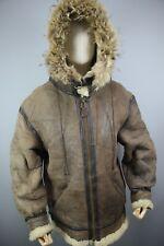 Vtg USA AVIREX  TYPE-B3 Hood Sheepskin Shearling Bomber Flight Jacket Size 44