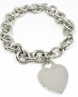 """Tiffany & Co. T&Co 925 Sterling Silver Engraveable Heart Tag Charm Bracelet 7.5"""""""