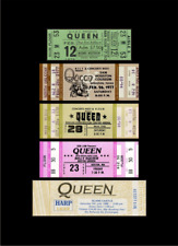 Five 1976-86 Queen unused paper replica concert tickets Collect, Scrapbook Cool