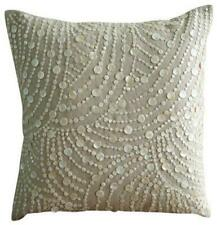 18x18 inch Linen Luxury Accent Throw Pillow Ecru Beige, Pearl - Dreams N Pearls