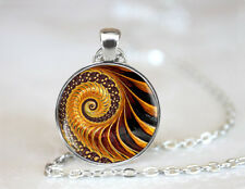 Golden Fractal Tibetan silver Dome Glass Art Chain Pendant Necklace