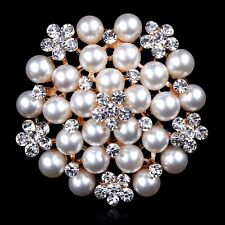 SPILLA FIORE DORATA STRASS BIANCHI 6,0 CM - White Big Flower Crystal Brooch