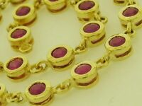 Genuine 9ct Yellow Gold NATURAL Ruby Line / Tennis Bracelet Elegant 18.5cm