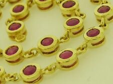 Genuine 9ct Yellow Gold NATURAL Ruby Line / Tennis Bracelet Elegant 18.5cm
