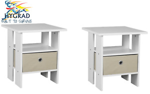 2 x White Wooden Bed Side Table Nightstand Shelf Storage With Removable Drawer