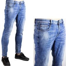Pantaloni Uomo Jeans Elastici Morbidi Blu Chiaro Denim Slim Fit SlimFit Aderenti