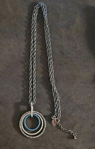 "WHITE HOUSE BLACK MARKET Long Hematite Crystal Round Pendant Necklace 36"""