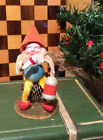 Vintage Christmas Putz Pinecone Elf with Clay Face and Lantern Japan