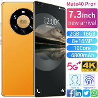 "Mate40 Pro+ 7.3"" Smart phone Android 10-Core 6800 mah 2GB+16GB 5G New 2021"