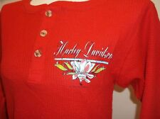 Harley-Davidson VTG women's Red FLOWER thin Thermal henley shirt M '92